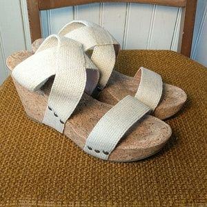 Lucky Brand canvas cork cream beige wedges sandals